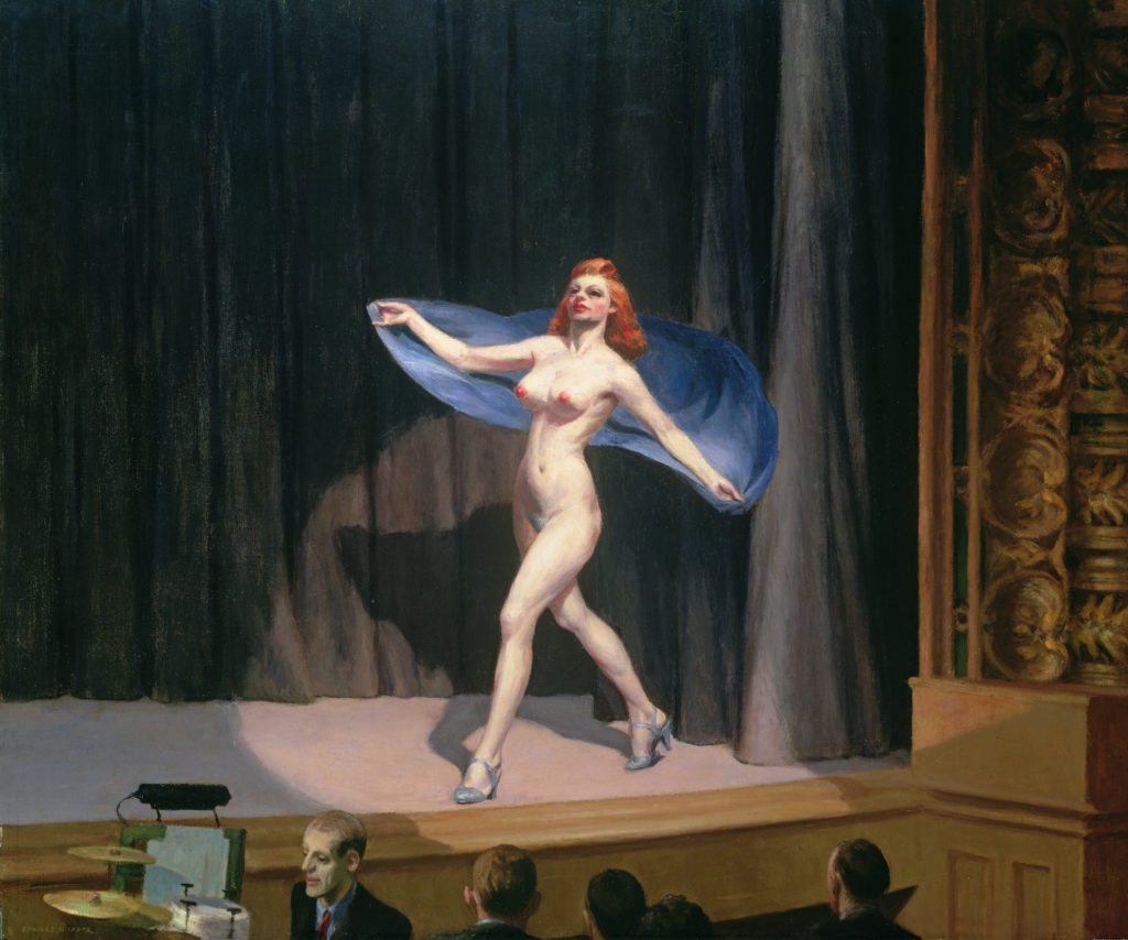 MFA404179 The Girlie Show, 1941 (oil on canvas) by Hopper, Edward (1882-1967); 81.3x96.5 cm; Private Collection; American,  in copyright PLEASE NOTE: This image is protected by the artist's copyright which needs to be cleared by you. If you require assistance in clearing permission we will be pleased to help you.